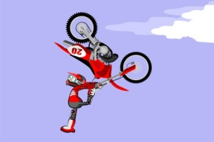 Motocross rider performing a high jump. Cartoon style